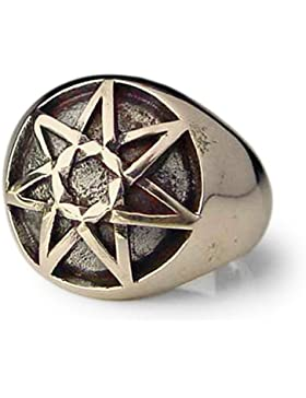 Bronze Keltisch Heptagram Ring 7 Ecke Stern Heptagon kuppelförmige - Alle Größe