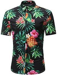 SALLYDREAM Blusa Estampada Floral de Moda Hombre Estilo de Hawaii Camisas de Manga Corta Casual Tops