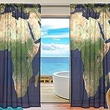 yibaihe Fenster Vorhänge, Gardinen Platten Fenster Behandlung Set Voile Drapes Tüll Vorhänge Satellite Karte von Afrika 139,7cm W x 198,1cm L 2Einsätze für Wohnzimmer Schlafzimmer Girl 's Room, Textil, multi, 55