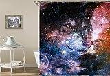 JYRSTSEHT Kreative Star Wolf 3D Hd Print Duschvorhang, Wasserdicht Und Feuchtigkeitsfest Polyestergewebe (180 × 180 cm 12 Haken) Duschvorhang