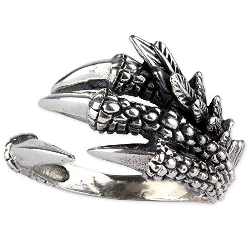 Ring Drachenkralle Dragon Claw aus 925er Sterling Silber (56 (17.8)) (Ringe Western Herren)