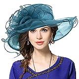 Donna Organza Church Derby Fascinator Cappello da Sposa Cappellini (019-Smeraldo)