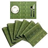 SHACOS Platzsets 6er Set,45 x 30cm,aus PVC,Rutschfest und Schmutzabweisend,Abwaschbar Hitzebeständig Tischsets,Platzmatten für küche Speisetisch (Grün,6)