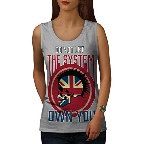 Schädel Metall Knallhart Vereinigtes Königreich System Punk Damen S-2XL Muskelshirt | Wellcoda Grau