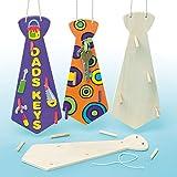 Cravatte di Legno Appendichiavi per Bambini da Creare Personalizzare e Regalare (confezione da 3)