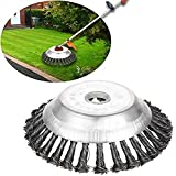Volwco 150mm Cone Knotted Wire Grass Trimmer Cutter Head, Metal Lawn Mower Weeding