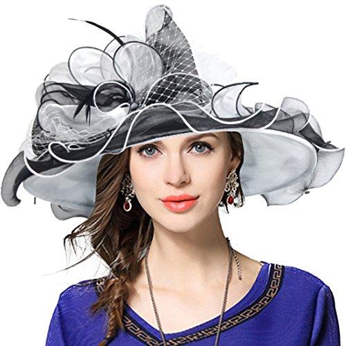 Damen Kirche Derby Kleid Fascinator Braut Mütze Britischer Tee Party Hochzeit Sonnenhüte (42b-Schwarz) Braut Kleid Kleid