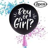 AerWo 2pcs Sexe Noir Révèlent des Ballons 36 'Bébé Douche Rose et Bleu Ballons...