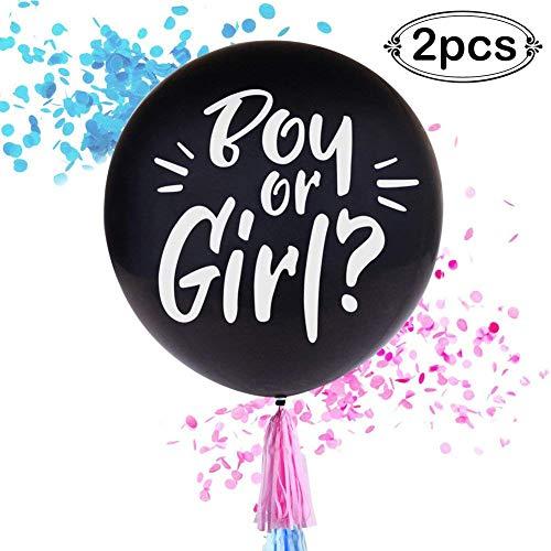 AerWo 2pcs Globos de Revelación de Género Negro 36 'Globos de Confeti de Ducha Rosa y Azul para el Sexo Reveal Decoration