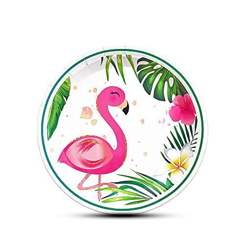 """WERNNSAI Funkeln Flamingo Platten - 50 Stück 9\"""" Hawaiian Luau Tropisches Thema Partyzubehör Einweg Papier Geschirr Teller zum Geburtstag Sommer Schwimmbad Strand Picknick Party"""