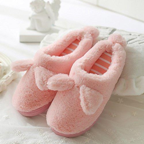 DogHaccd pantofole,Pantofole di cotone femmina spessa coperta, antiscivolo inverno incantevole soggiorno di casa con un pacchetto di caldo con eleganti pantofole Rosa1