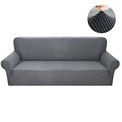 Interlink-UK Sofabezug Sofahusse 3 Sitzer Elastisch Stretch Jacquard aus Rutschfest Material Elegant (Grau, 3 Sitzer 185-230cm)
