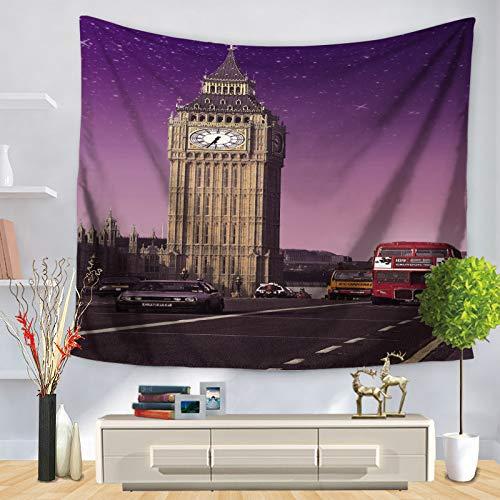 jtxqe Straßenansichtdruck-Wandbehang-Hintergrunddekoration der Tapisserie europäische und amerikanische Architektur 22 150 * 130 -