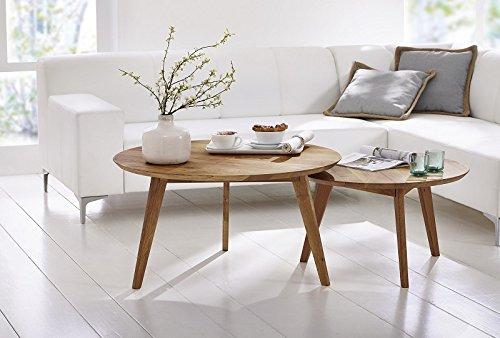 Table basse en bois massif Ø 70 cm - Chêne sauvage - Inspiration Scandinave - STOCKHOLM