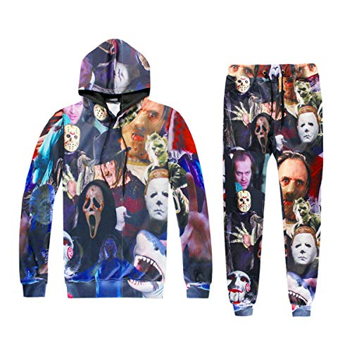 Surenhap Sportbekleidung, Hoodie & Hosen Hip Hop 3D Druck Horror Film Killer/Teufel/ Hai/Zombie Fashion Sweathosen Sportbekleidung für Halloween Sport usw. Unisex - M, Set