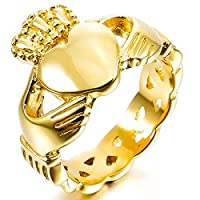 MunkiMix Stainless Steel Ring Gold Tone Irish Celtic Knot Irish Claddagh Friendship Love Heart Royal King Crown Size X Men