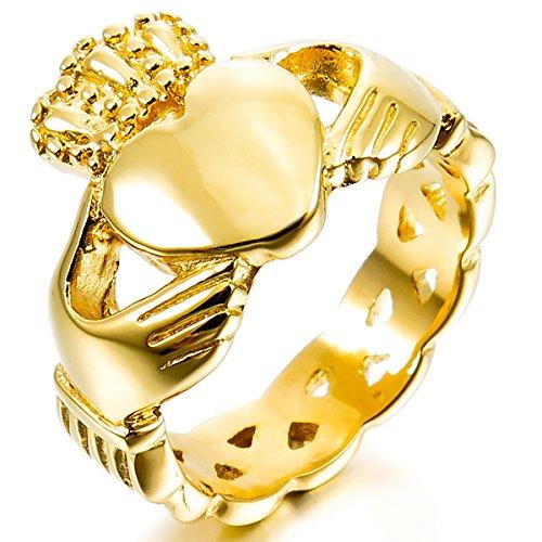 MunkiMix Edelstahl Ring Golden Ton Irish Celtic Knot Irischen Keltisch Knoten Iren Claddagh Freundschaft Liebe Herz Königliche König Krone Größe 65 (20.7) Herren