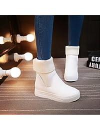 Desy mujeres botas de invierno – botas de nieve de cuero sintético zapatos Creepers punta redonda patucos/botas...