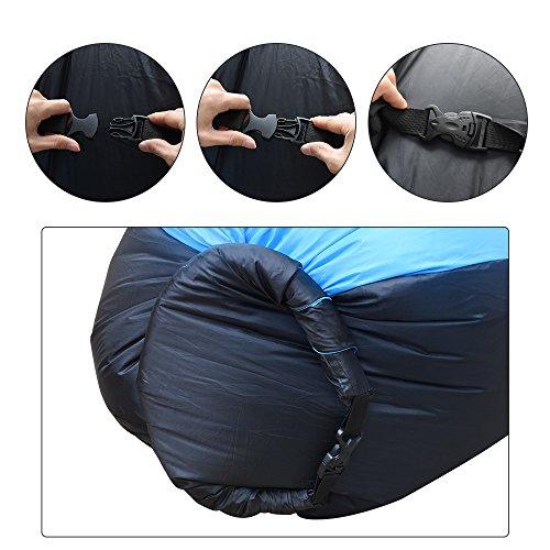 iRegro wasserdichtes aufblasbares Sofa mit integriertem Kissen, tragbarer aufblasbarer Sitzsack, Aufblasbare Liegecouch, aufblasbares Outdoor-Sofa für Camping, Park, Strand, Hinterhof (blauschwarz) - 4