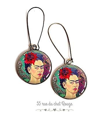 Boucles d'oreilles cabochon, résine époxy, Cabochon Frida Khalo, portrait femme, Mexique, Coloré