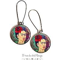Orecchini cabochon, resina epossidica, Cabochon Frida Khalo, ritratto donna, Messico, Colorato