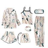 Echte Seide Pyjamas Printed Sieben Stück Kleidung Set Homewear Anzüge für Frauen (Lilie, M)