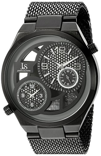 Joshua & Sons Men's JX111BK Black Dual Time Zone Quartz Watch with Black See Thru Dial and Black Mesh Bracelet