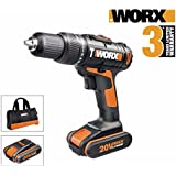 Worx Lithium-Ion Cordless Hammer Drill - 20V Max Lithium With Two Batteries. WX371.3