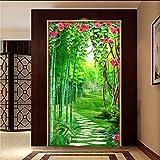 Fushoulu Benutzerdefinierte Wandbild Tapete Für Wände 3D Blume Vine Bambus Wald Kleine Straße 3D Eingangshalle Hintergrundbild Wandbilder 3D-120X100Cm