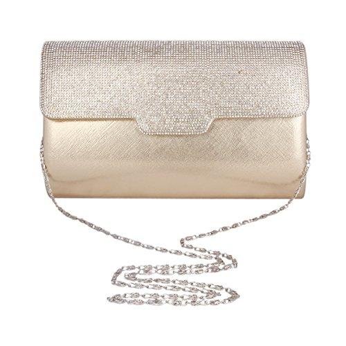 Adoptfade Damen Abendtasche Elegant Mit Hochwertigem Strass, Gold Champagne