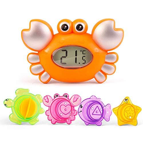 Baby Lustige Bad Spielzeug Set FOONEE Gesund Ungiftig PP Material Baby Shower Schwimm Lernspielzeug Strand Spielzeug Für 6 Monate Baby,Krabbenförmiges Badethermometer