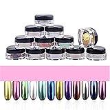 TPulling 12 Farbspiegelset Nagel-Glitter-Pulver Shinning-Nagel-Spiegel-Pulver-Make-upkunst DIY Chrome (Mehrfarbig)