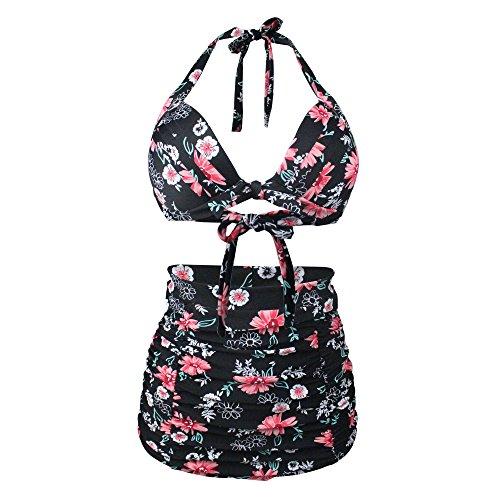 Daisy Bikini (Gigileer Vintage 50's Rockabilly Damen Bademode Bikini Swimsuit - Floral - High Waisted - Bauchweg - Plus Size (S(EU 36-38), Daisy))