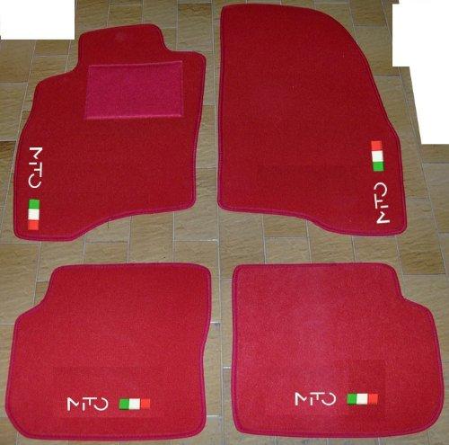 Tappeti per Auto Rossi, set completo di Tappetini in Moquette su Misura con Ricamo a Filo Bandiera Italiana