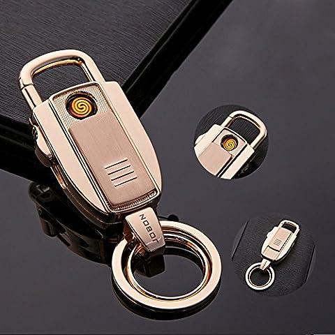 Jobon 2-in-1Elegante auto portachiavi batteria USB accendisigari zb-8755(dorato)