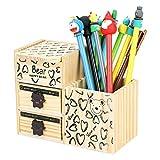 Enfant Boîte de Rangement en Bois Organisateur de Bureau Chambre Décoratif Boîte de Stockage Multifonctionnel avec Tiroirs Module de Rangement avec Porte-stylos Pot à Crayons Multi Compartiments