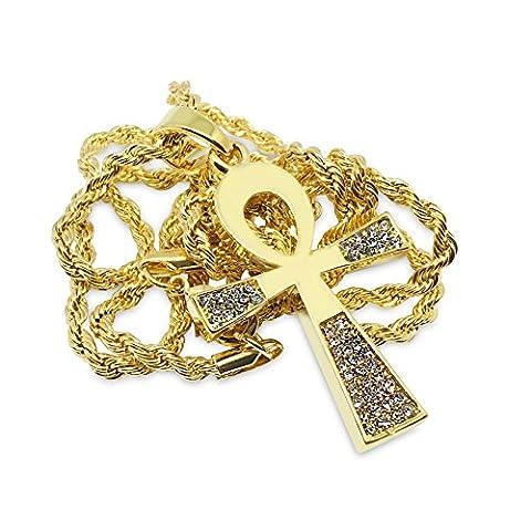 Premium 14K vergoldet flach Iced Out Ankh Symbol Hip Hop Bling Anhänger Kette Halskette