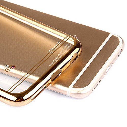 iPhone 6sPlus Custodia Sveglio, Soft TPU Gel Cover per iPhone 6Plus, MAOOY Shell Placcatura Edge in Lucido di Cristallo di Scintillio Strass Shock Absorption Protettiva Trasparente Ultra Sottile Chic  Gold Heart Amore