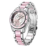 Easy Go Shopping Damenuhr DREI kleine Zifferblätter Mode Damen Quarz Uhr mit Legierung Keramik Band (Farbe : Rosa)