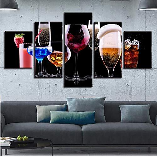 Mddrr Leinwandbilder Wandkunst Hd Drucke Poster 5 Stücke Farbe Weingläser Cocktail Gemälde...