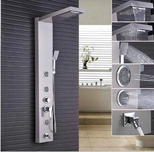 Hand-jet-massage-system (HELING Rain Brushed Nickel Shower Waterfall Panel Body Massage Jets Tub Sput Hand Spray Shower Set Tower Shower System)