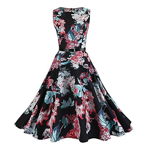 MISSWongg Damen Elegant Kleid ärmelloses graues Drucken Kleid Vintage Cocktailkleid Rockabilly Retro Schwingen Kleid Faltenrock Swing Kleid