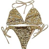 LA HAUTE Women Sexy Bikini Set Two Pieces Sequin Beachwear SwimmingWear Push Up Swimsuit