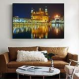 Wieoc Amritsar - Golden Temple Wandbilder Für Wohnzimmer Wandkunst Leinwand Religion Leinwand Gemälde Dekoration 60X80 cm