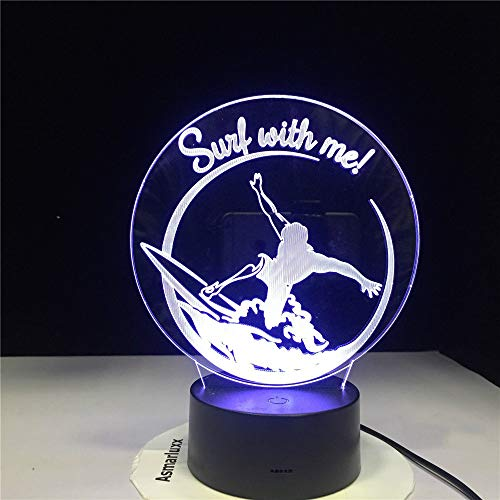 KangYD Surfing Man 3D Nachtlicht, Bedside Decor Geschenk, Acryl, LED Mood Lamp, Touch 7 Farbe (Black Base),Atmosphärenlampe