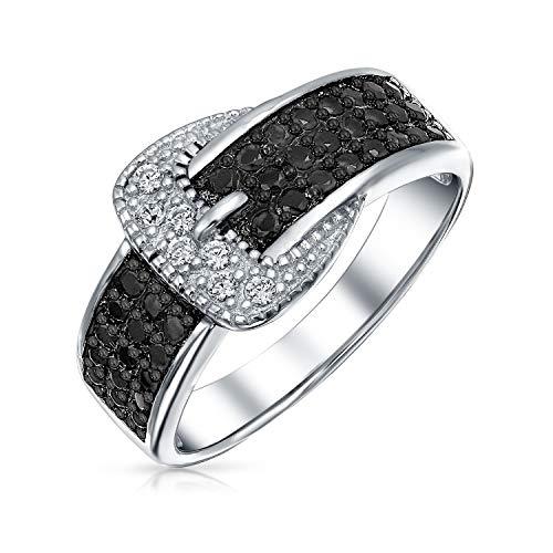 Bling Jewelry Trendige Mode Pave Zirkonia Schwarz CZ Erklärung Gürtelschnalle Band Ringe Für Damen 925 Sterling Silber