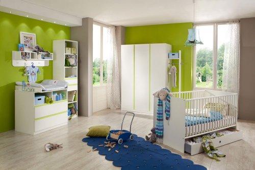 Preisvergleich Produktbild 4-tlg. Babyzimmer in Alpinweiß und Abs. in Apfelgrün, Kleiderschrank Breite: 135 cm, Babybett 70 x 140 cm cm, Wickelkommode mit Aufsatz Breite: 90 cm