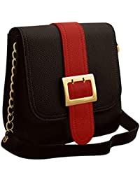 TAP FASHION Stylish Casual Fancy Elegant PU Leather Women's Handbag With Sling Belt (WSB-4632-100-STB, Red & Black)