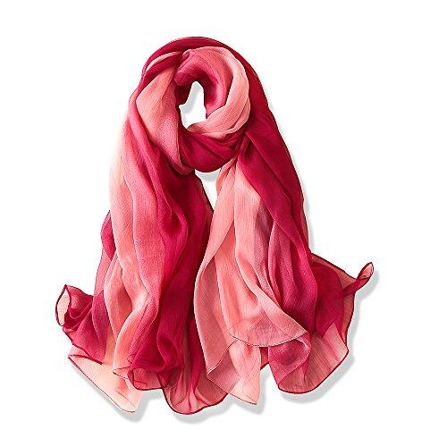 YFZYT Mode Frauen lange weiche Wrap Schal Damen Sonnencreme Stickerei Feder Muster Voile Schal...