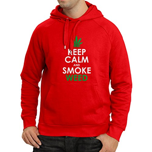 lepni.me Kapuzenpullover Halten Sie Ruhe und Rauch - Marihuana Blatt - Unkraut Raucher (Medium Rot Weiß)